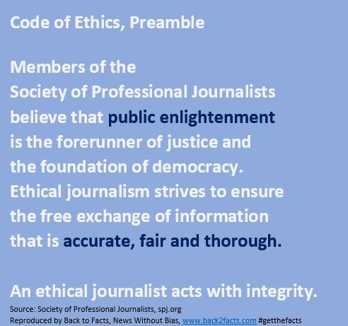 The SPJ Code of Ethics is a statement of abiding principles supported by explanations and  position papers  that address changing journalistic practices. It is not a set of rules, rather a guide that encourages all who engage in journalism to take responsibility for the information they provide, regardless of medium. The code should be read as a whole; individual principles should not be taken out of context. It is not, nor can it be under the First Amendment, legally enforceable. - (From spj.org.)