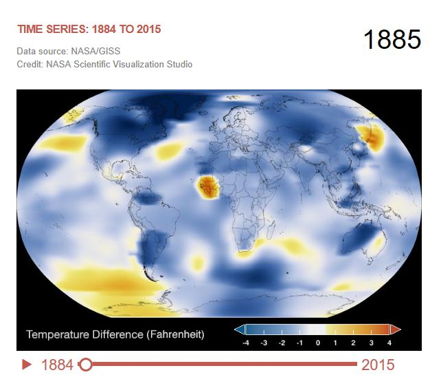 The time series below shows the five-year average variation of global surface temperatures in 1885. Dark blue indicates areas cooler than average. Dark red indicates areas warmer than average.