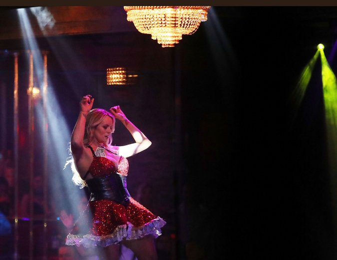 """Stormy Daniels dancing for her """"Making America Horny Again"""" tour earlier this year. Joe Raedle/Getty Images."""