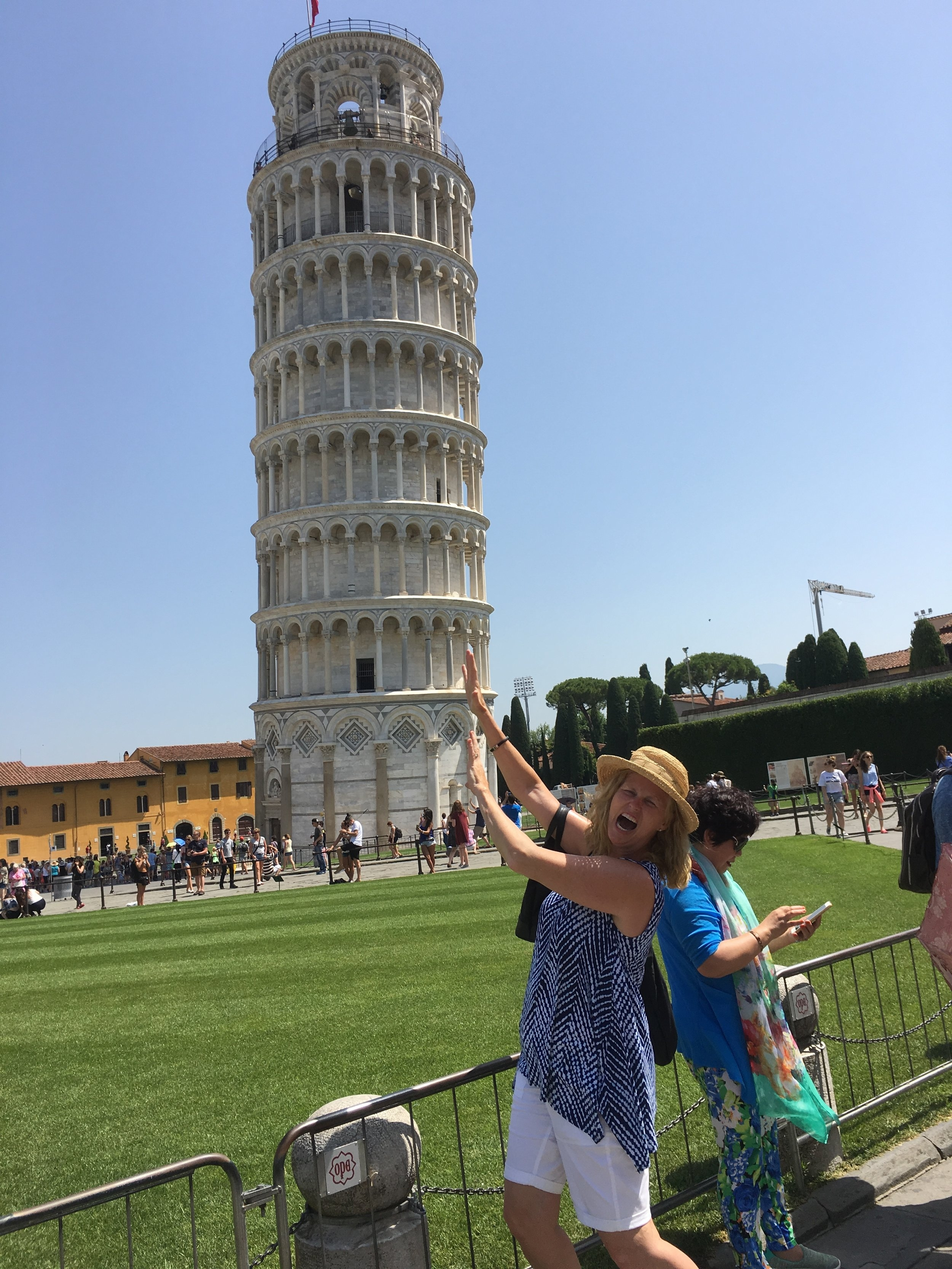 Kathy and the Leaning Tower of Pisa during summer concert tour in Florence and Greve, Italy