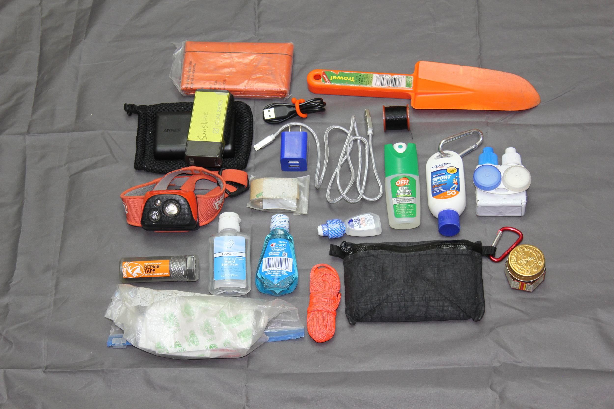 Anker and Goal Zero Battery Packs - 14,000 mA  Petzl Tikka R+ Headlamp  Aquamira  Toiletries and First Aid