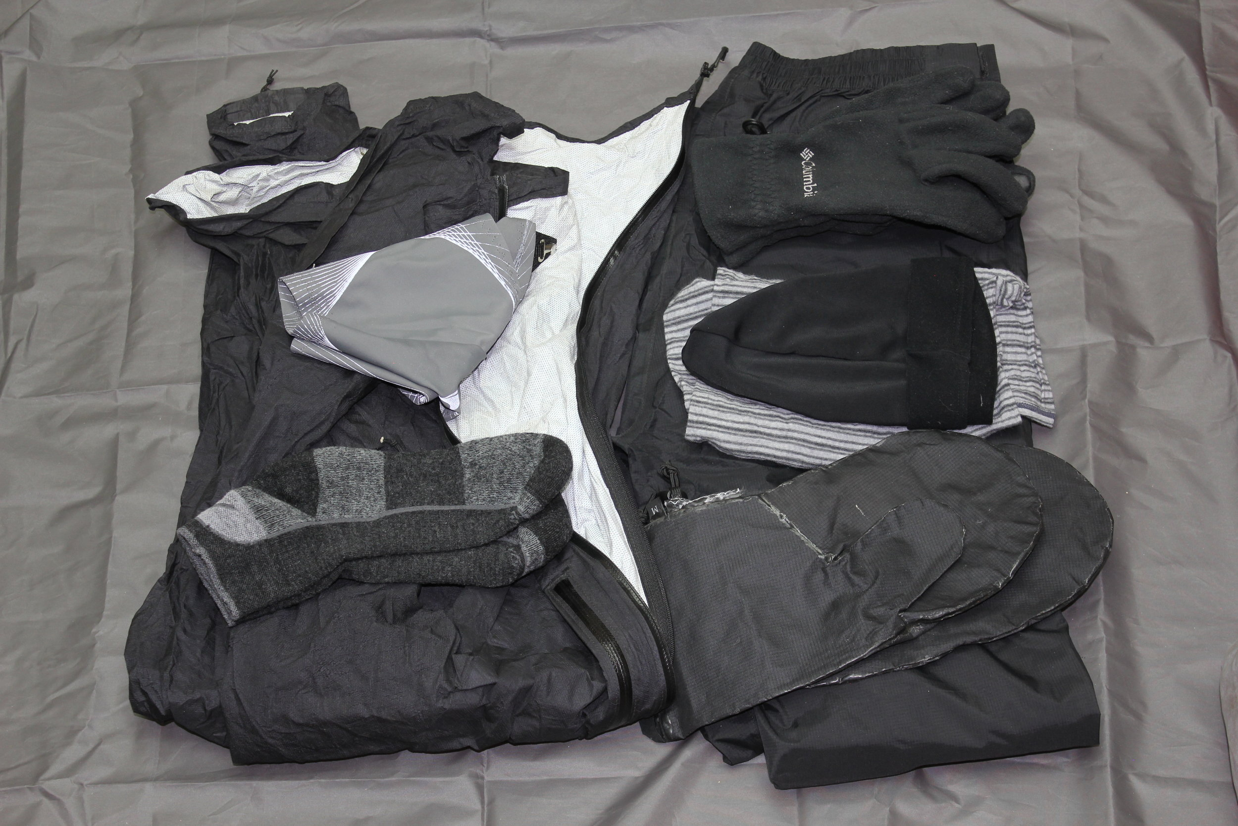 Zpacks Rain Jacket - 6 oz  Marmot PreClip Full-Zip Rain Pants  Altra Gators  Columbia Gloves  Mount Laurel Designs - Rain Mitts  Neck Buff