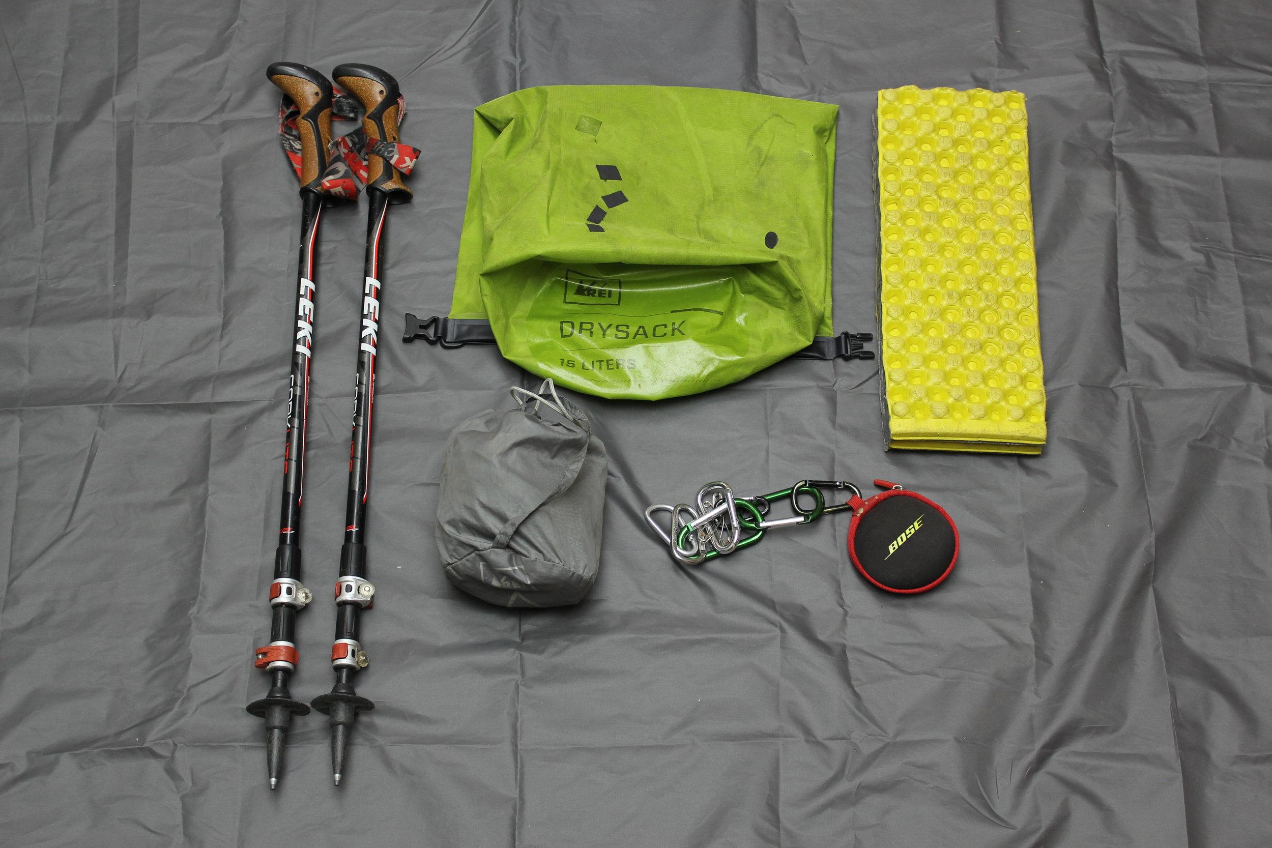 Leki Trekking Poles  REI Dry Sack - Food Bag  REI Pack Rain Cover  Bose SportSound Headphones  Cut Z-Lite Pad as Butt/Sitting Pad
