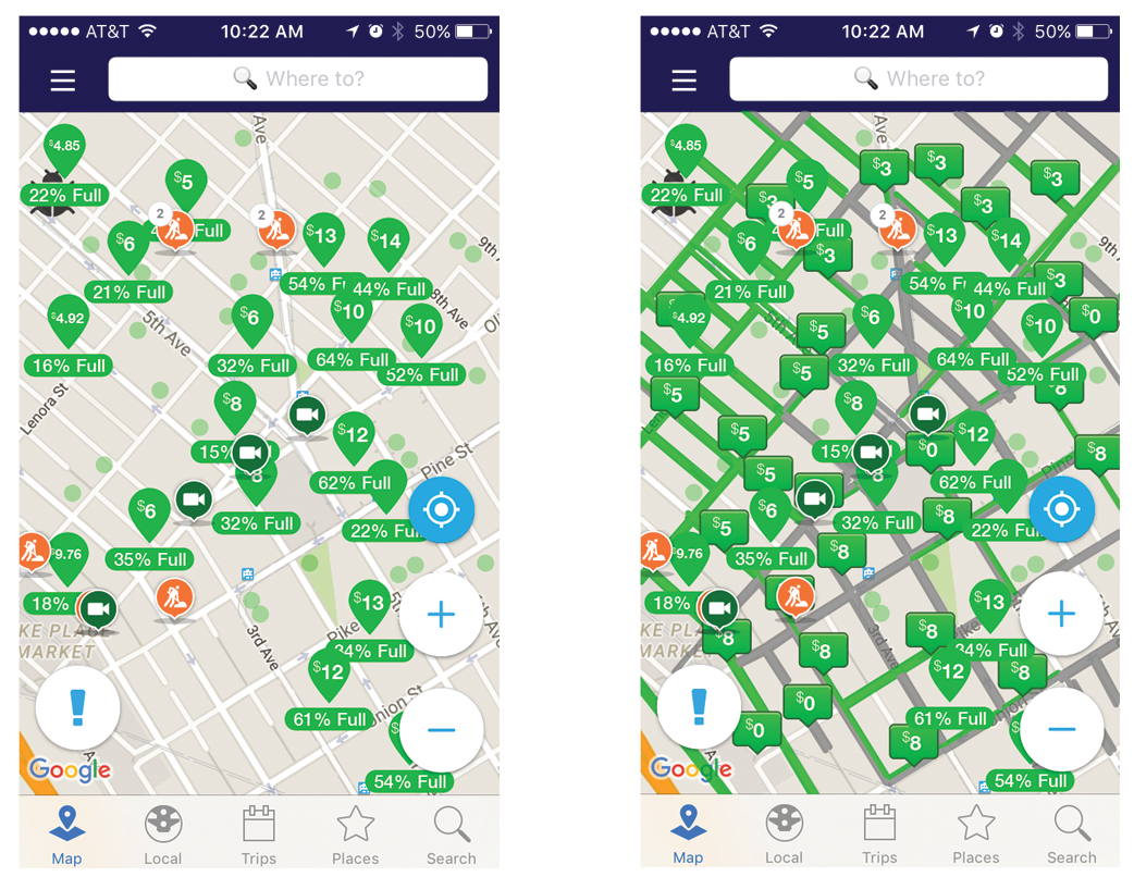 Shown is ParkMe's on & off street parking data mixed with INRIX's Map Data