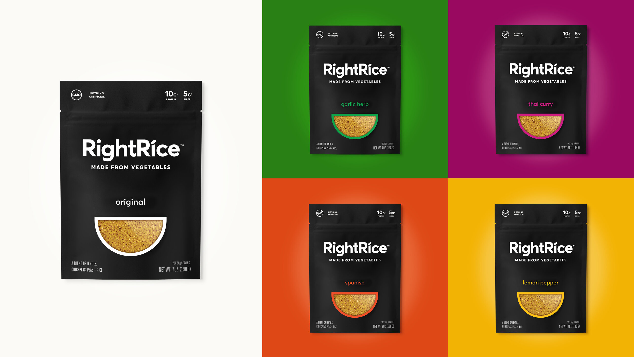 RightRice is available in five of the most popular rice flavors from ingredients you can read. The visual identity makes it easy for consumers to navigate toward their preferred flavor.