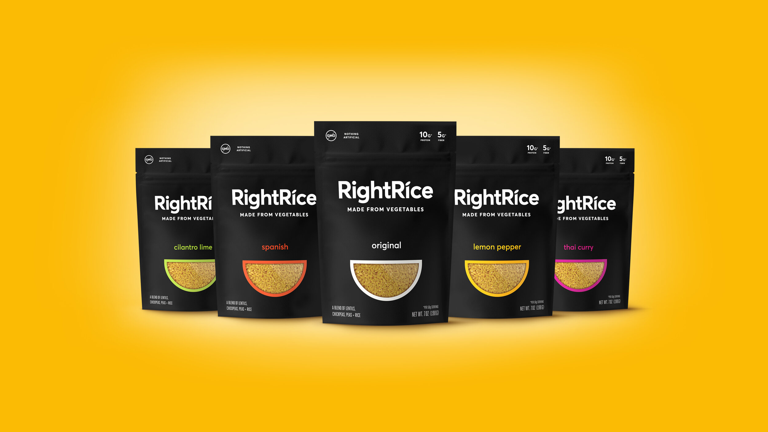 The dominant black package and its stark simplicity was designed to break the norms of the rice aisle. The black brings a premium, culinary edge while the cut out window provides transparency to the product, and acts as both a smile and a bowl full of rice.