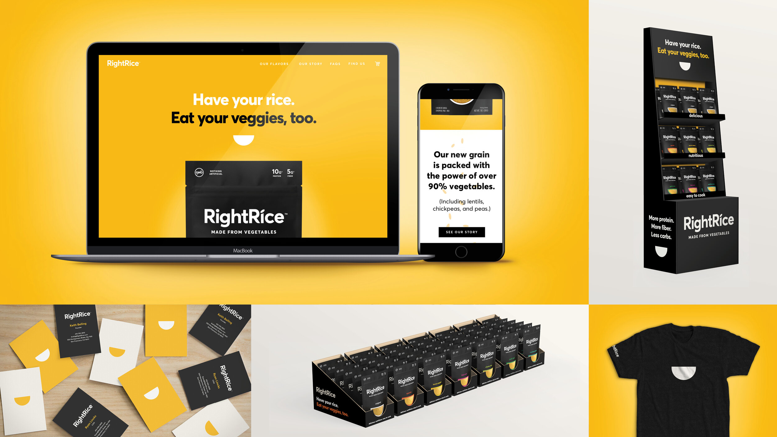 In addition to the visual identity, the team designed RightRice's go-to-market website and initial launch materials.