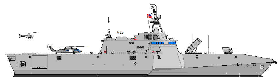 Figure      SEQ Figure \* ARABIC    1      : INDEPENDENCE Variant LCS re-imaged with both deck and VLS launchers for rockets.