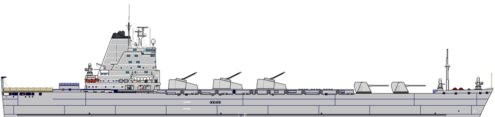 Figure      SEQ Figure \* ARABIC    2      : A 17,000ton 23kt Group III reimagined as an NSFS ship with 5 guns, 2 64-cell VLS modules and self-defense weapons.