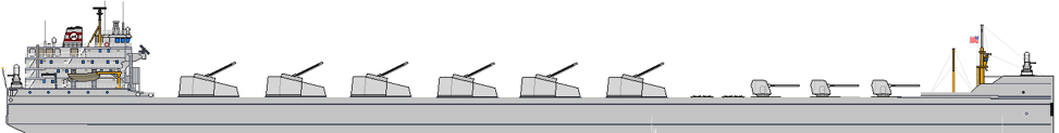 Figure 4: 30,000 ton 12kt Bulk Carrier reimagined as a NSFS vessel with 9 guns and 2 64-cell VLS modules
