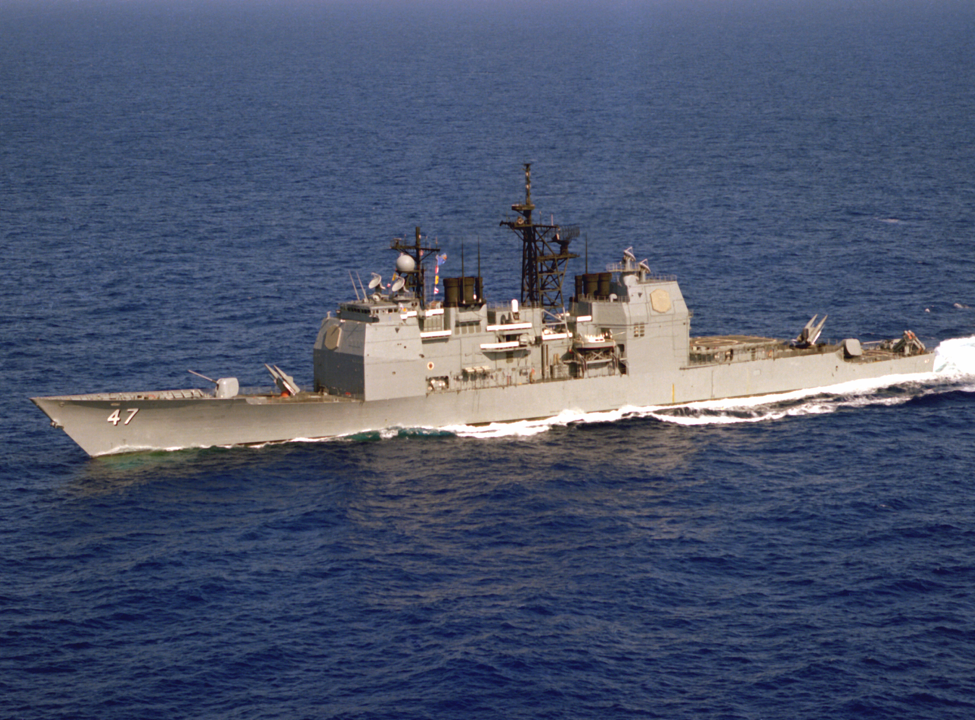 Figure      SEQ Figure \* ARABIC    4      . An aerial port bow view of the Aegis guided missile cruiser USS TICONDEROGA (CG-47) underway during Standard II missile tests near the Atlantic Fleet Weapons Training Facility, Roosevelt Roads, Puerto Rico. Photo Credit: US Navy.