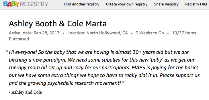 MAPS MDMA gift registry Los angeles