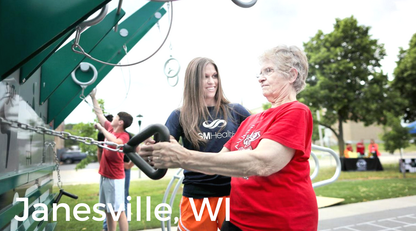 """""""I'm encouraged and glad to see the outdoor gym includes equipment to improve balance, which is key to preventing falls. It's free and open to the public, so no one would have any reason not to take advantage of it.""""    – Carol Claybaker, Janesville, Wisconsin"""