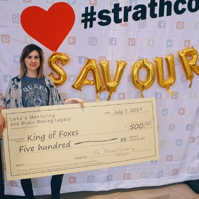 What a day! We had a blast playing the #strathco #savour event in Sherwood Park. And we are very grateful for the generosity of the Luke Jansen Foundation, who surprised us with a giant cheque to go towards our original music project, @kingoffoxesband. Thank you!