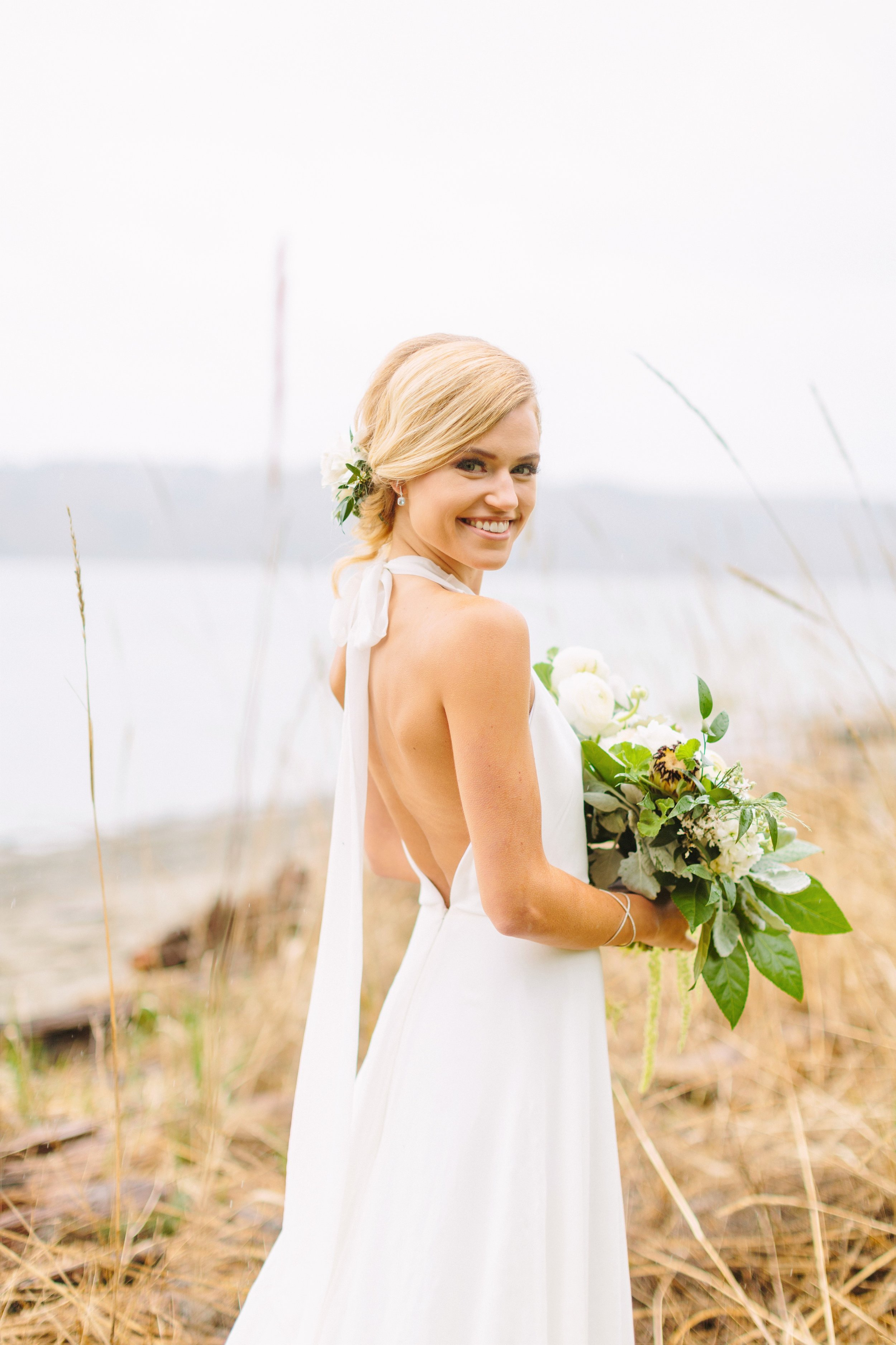 chiffon halter neck wedding dress