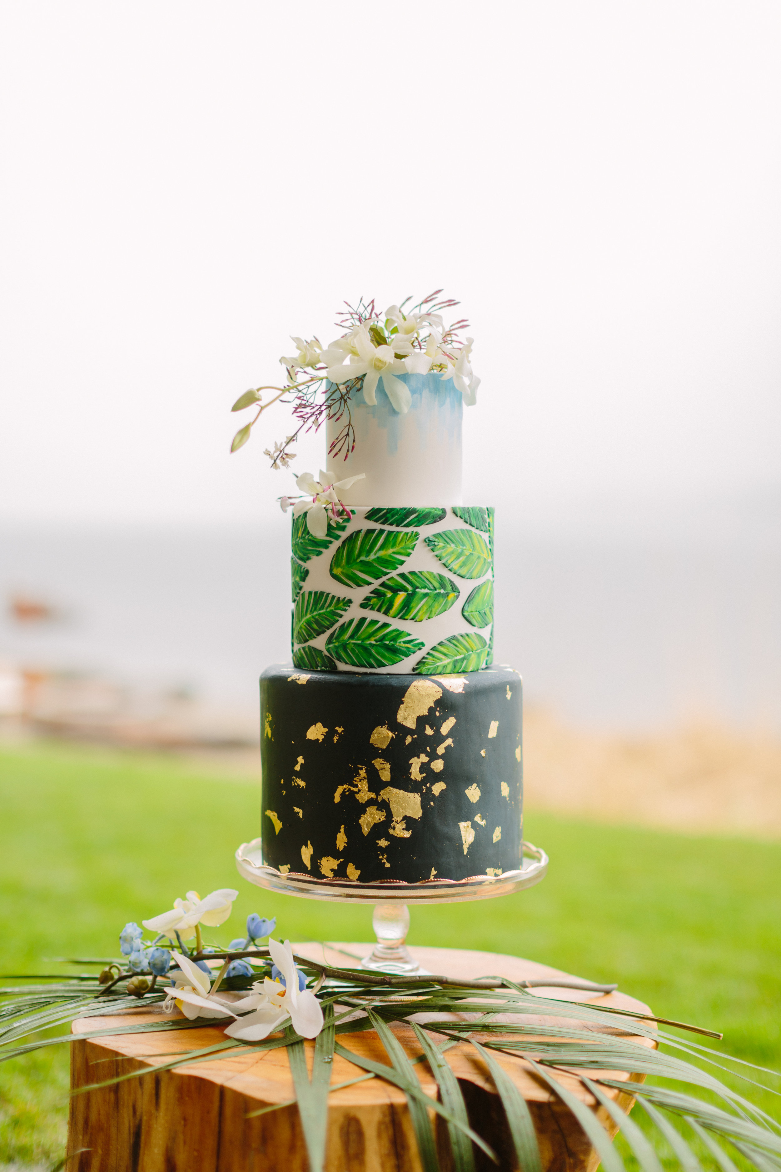 tiered tropical wedding cake