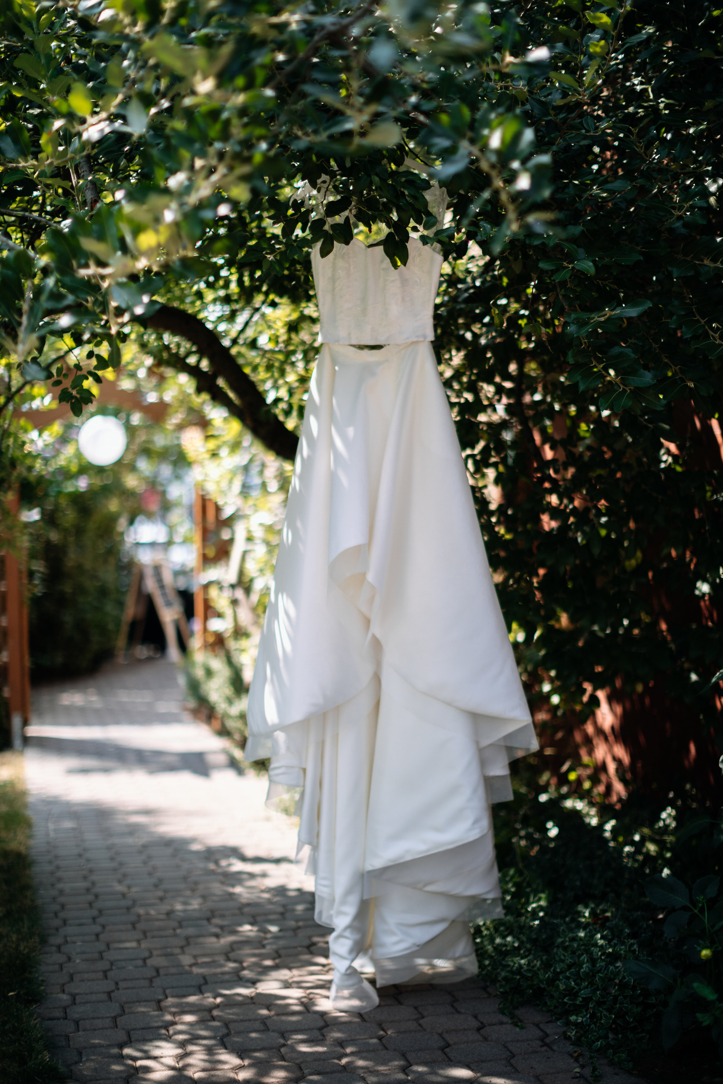 hanging wedding dress photos