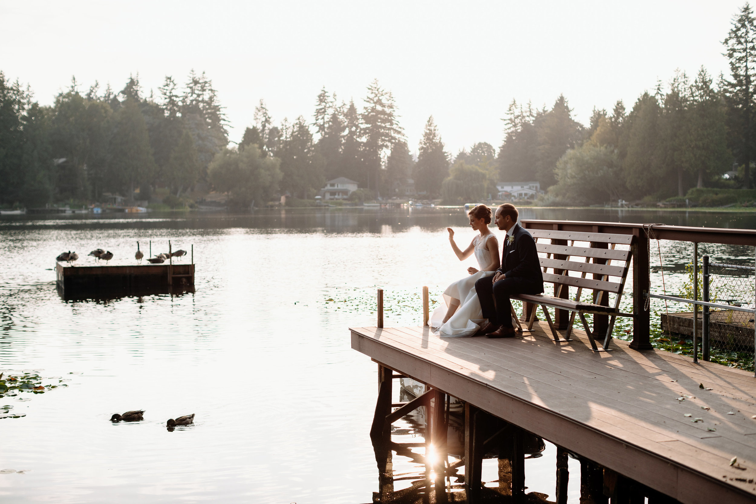 wooden dock wedding photos