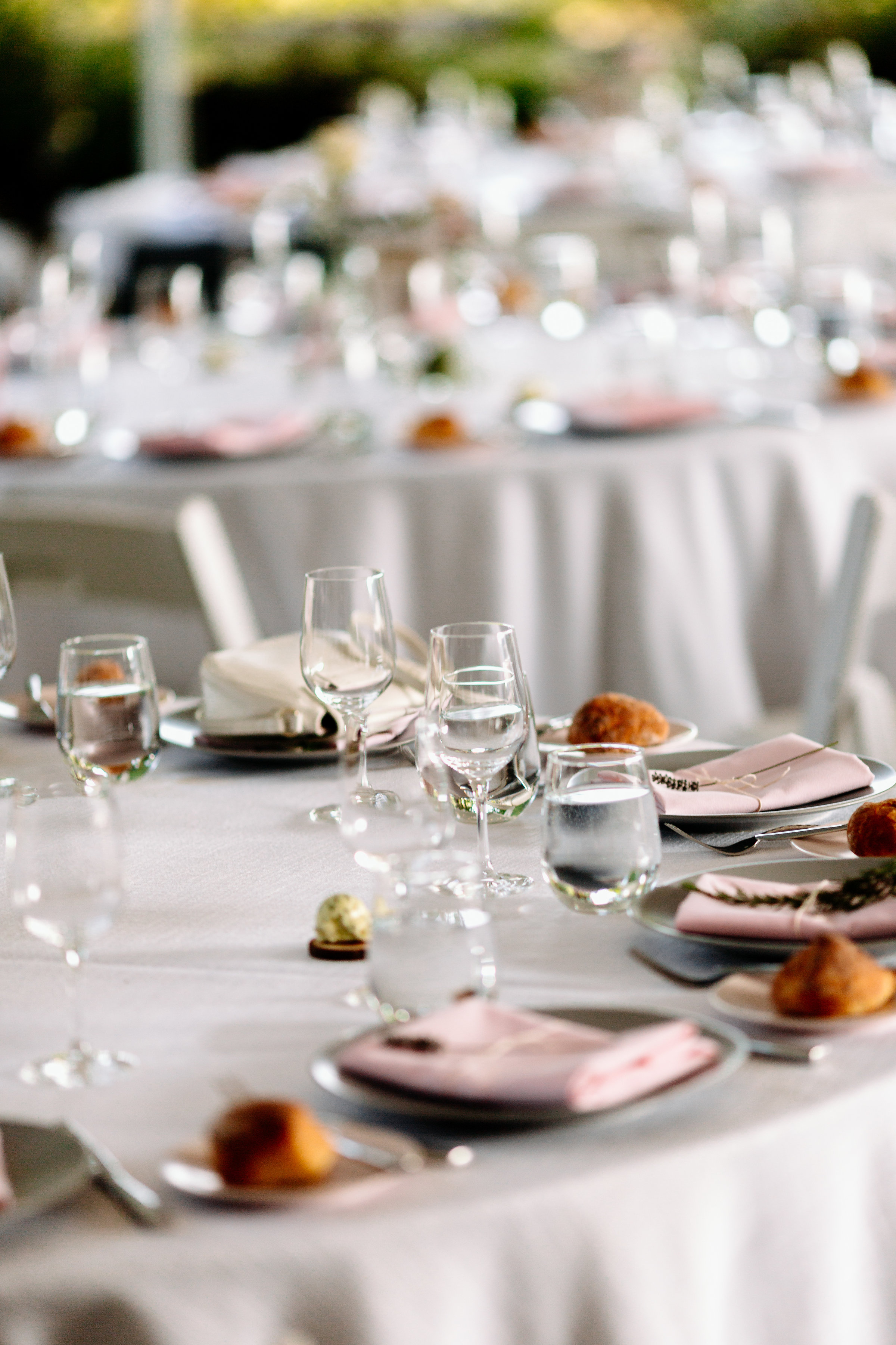 light pink napkins wedding