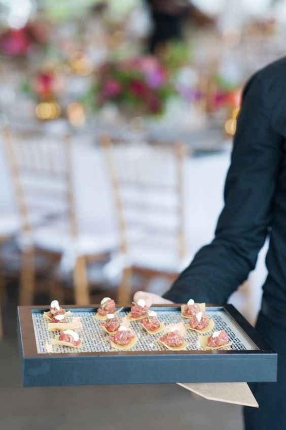 tray passed appetizers wedding
