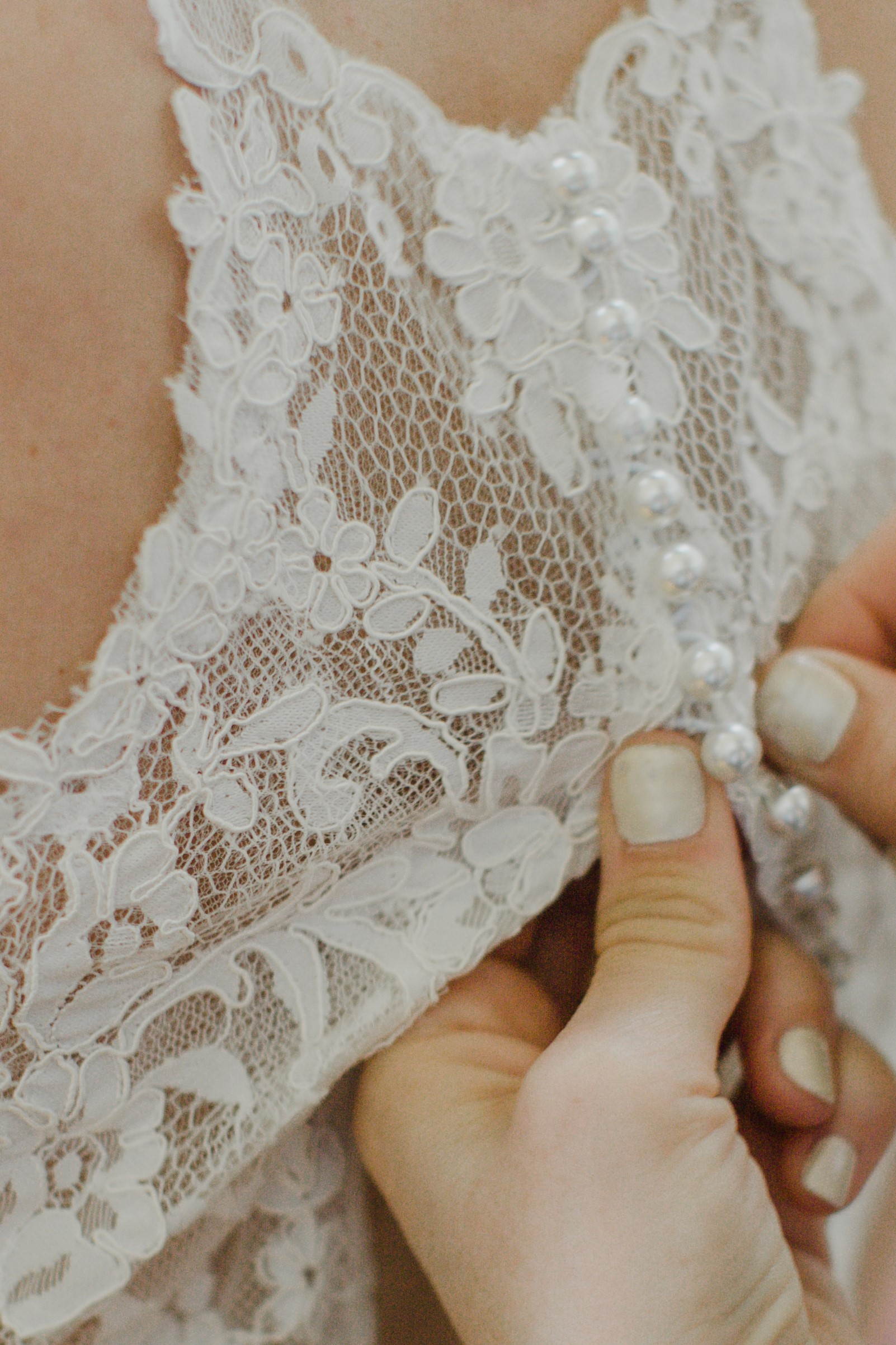 wedding gown with buttons