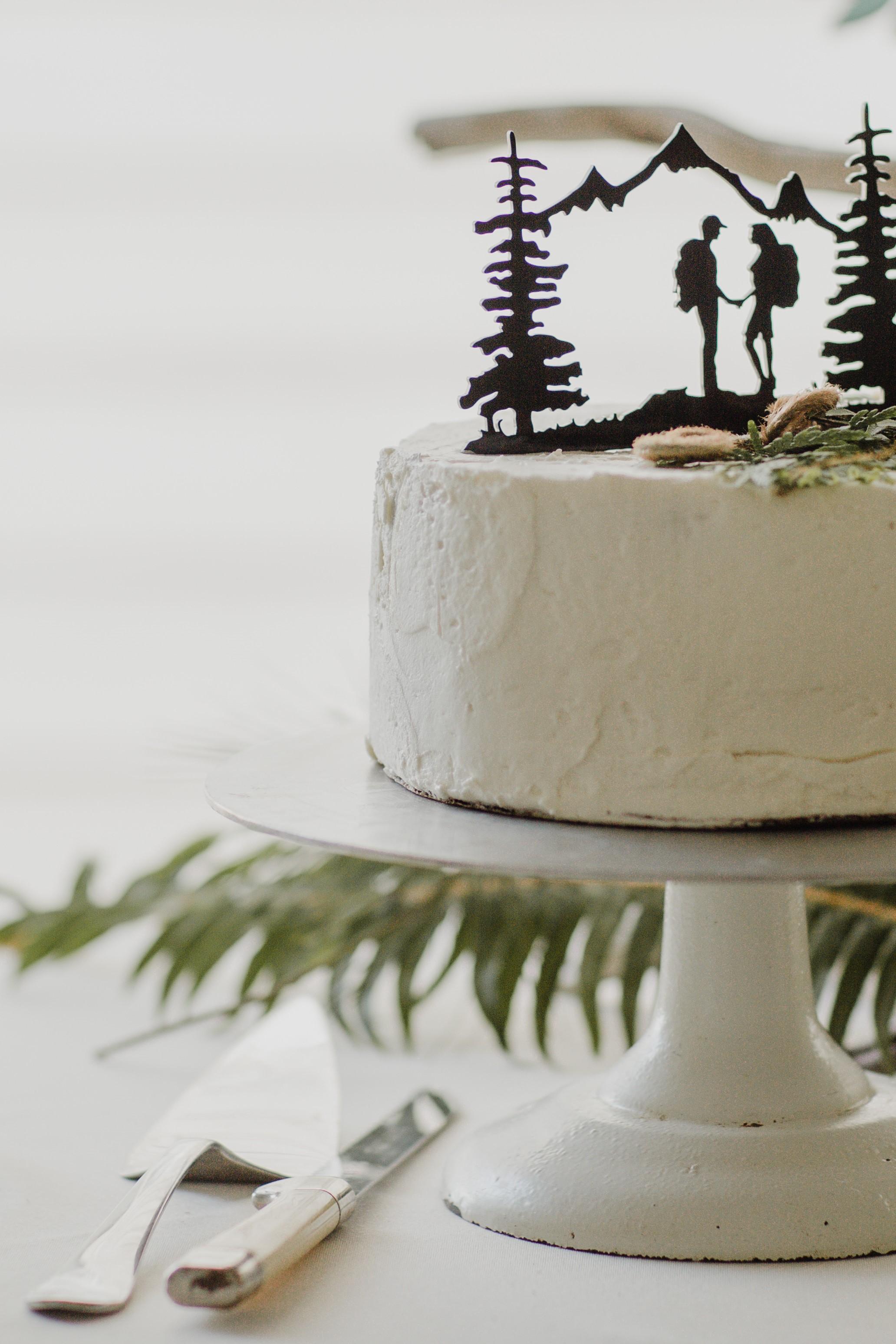 hiking wedding cake topper