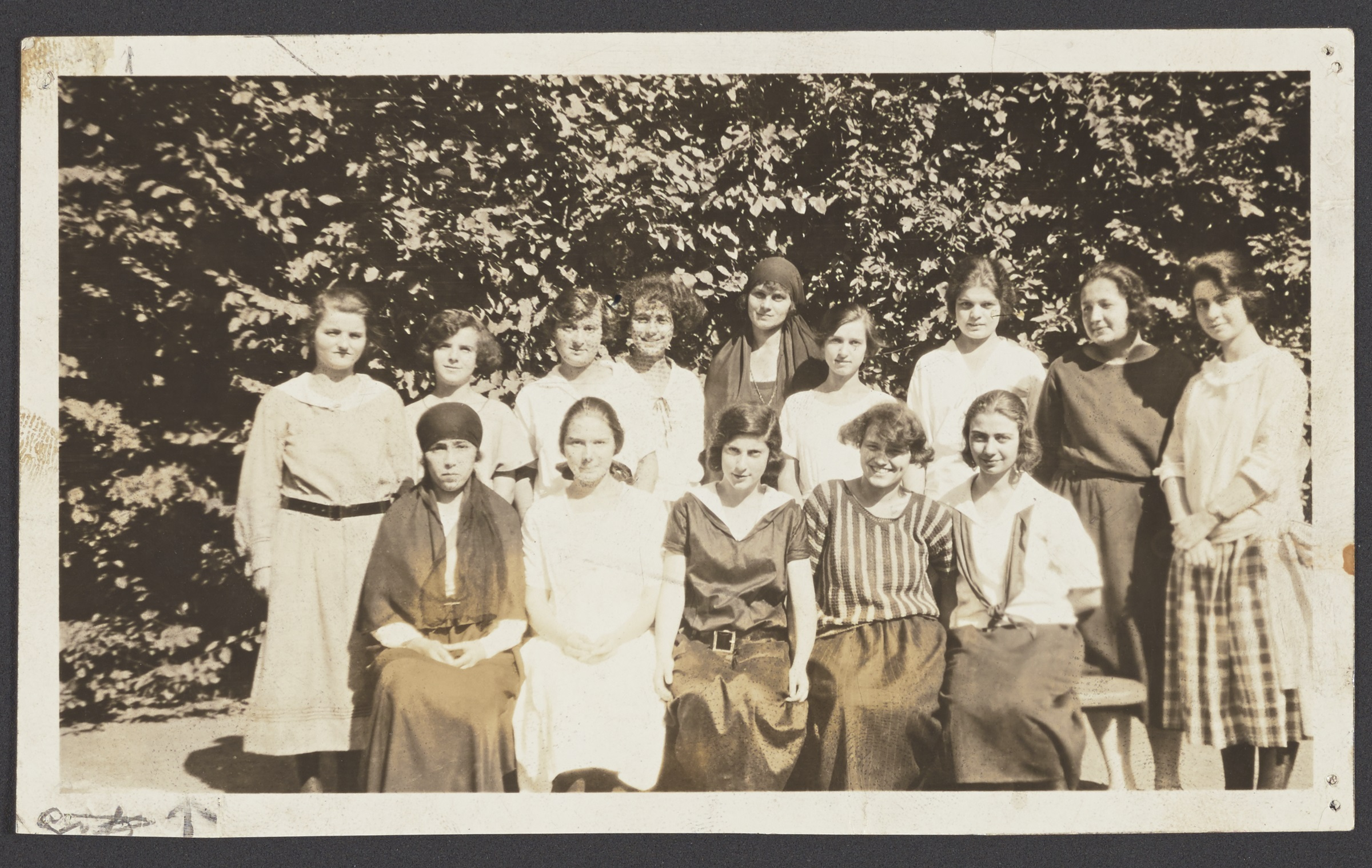 Students of different nationalities, American College for Girls. Student nationalities, top row, left to right: English, Albanian, Circassian, Armenian, Turkish, Russian, Georgian, Iranian, American. Student nationalities, bottom row: Arabian, Austrian, Jewish, Bulgarian, Greek