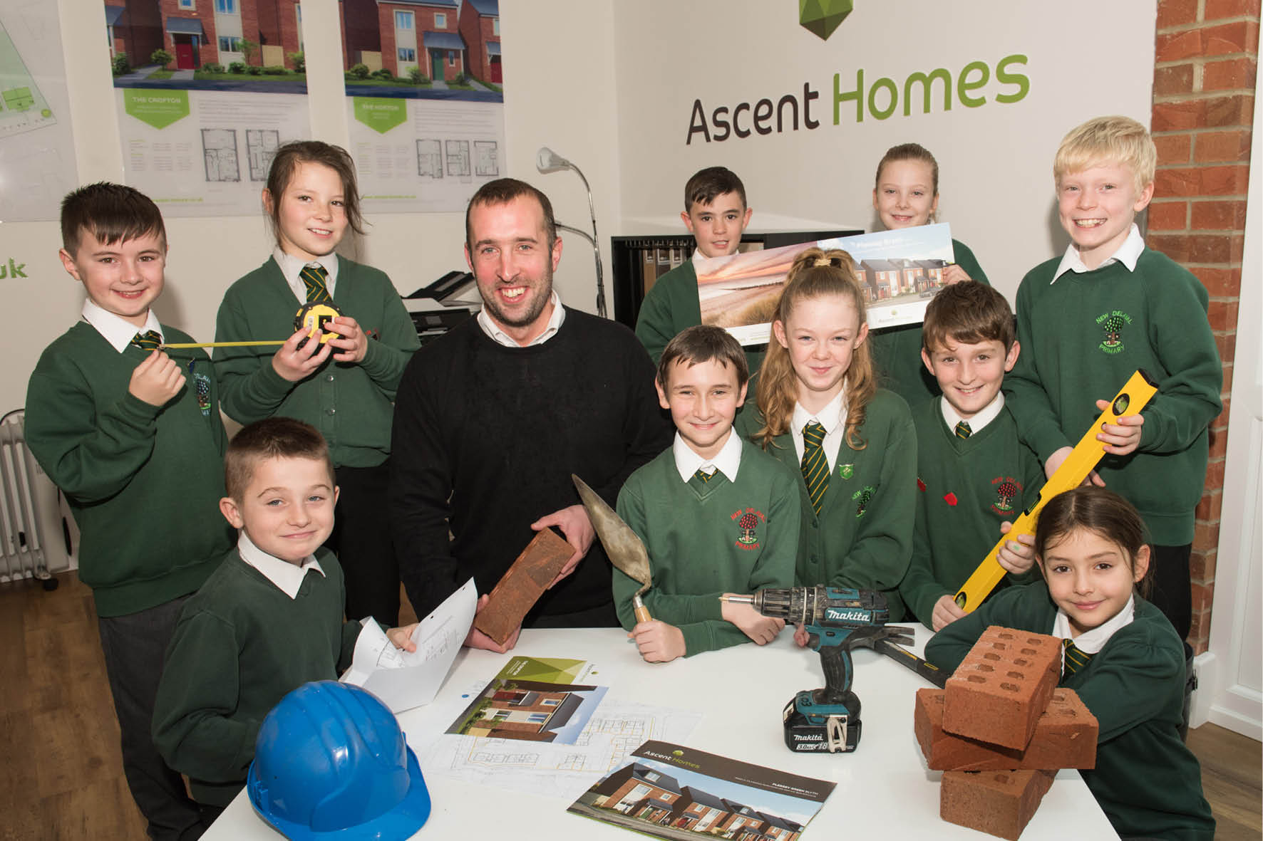 Site Manager, Keith Love with pupils from New Delaval Primary School, Blyth