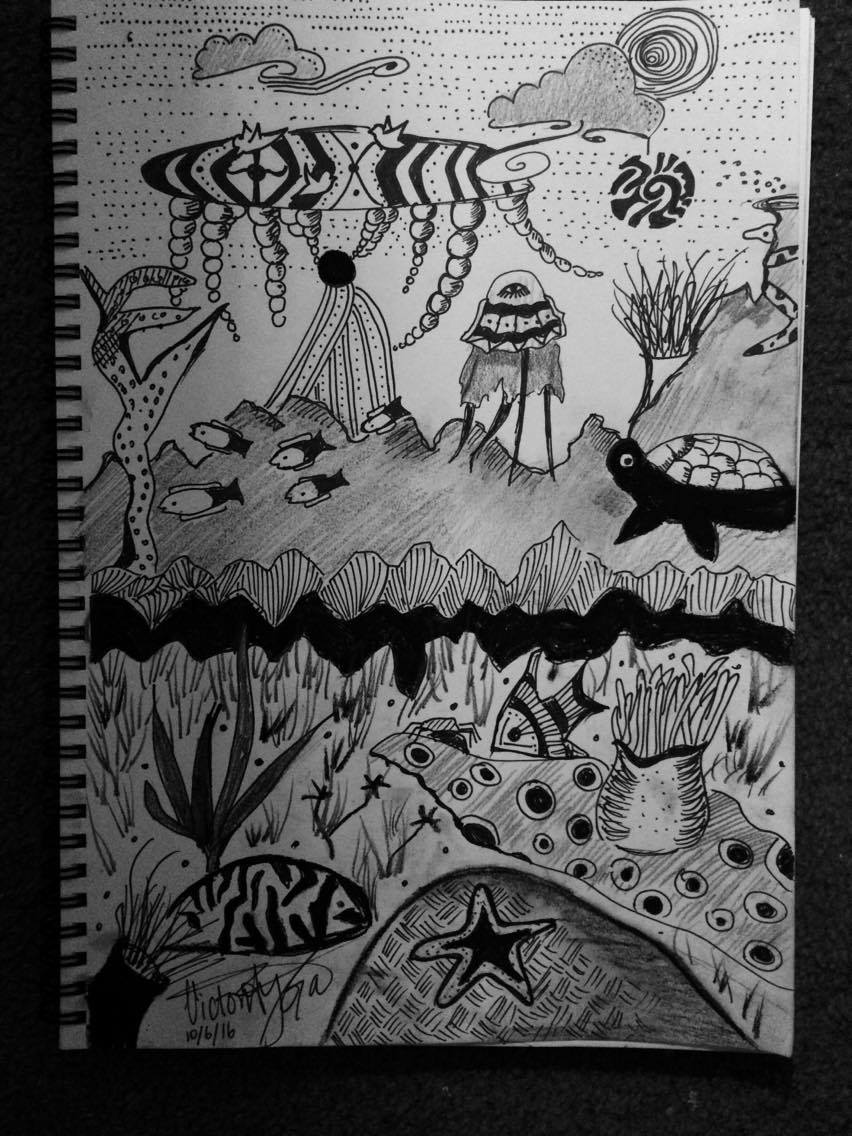 Guylian Cafe's Chandelier   I decided to go to the Guylian cafe after work one day and started drawing. As I sipped the rich hot chocolate, I noticed a unique globular chandelier hanging above me. This is what inspired this drawing.  Medium:  STAEDTLER  Black Pigment Liner 0.5 and Black Carbon pencil on Cartridge Paper in my drawing book