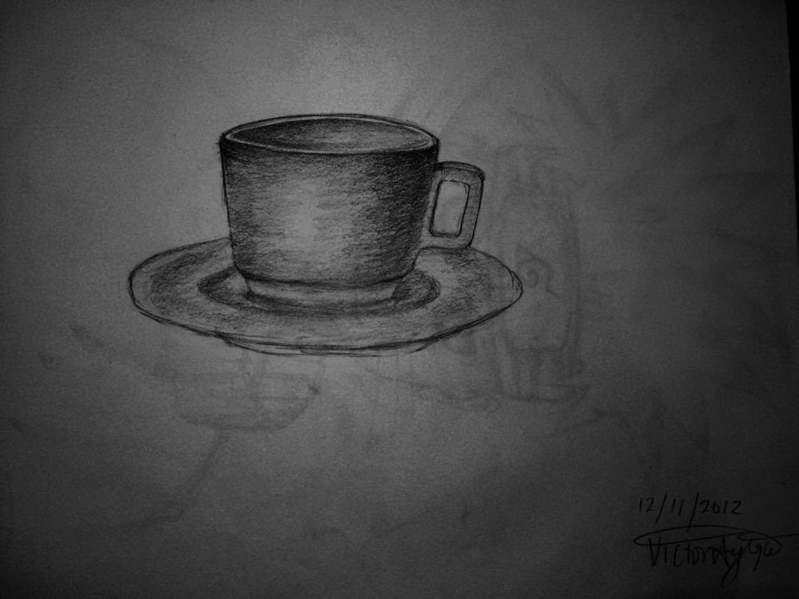 Cup and Saucer   And this is why I don't draw still life very much....   Medium: H  B Pencil on Cartridge Paper