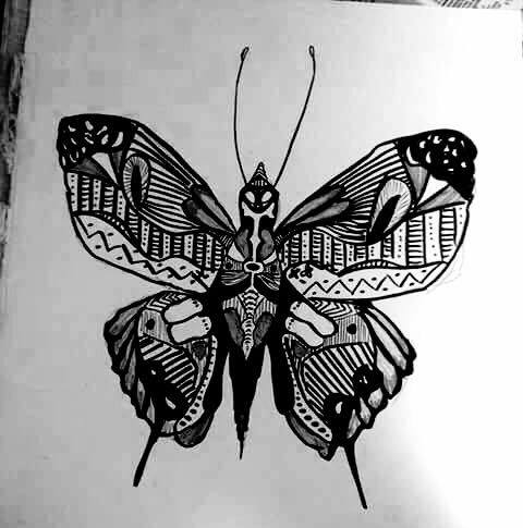 Butterfly with Texter Markers, Pen and Pencil
