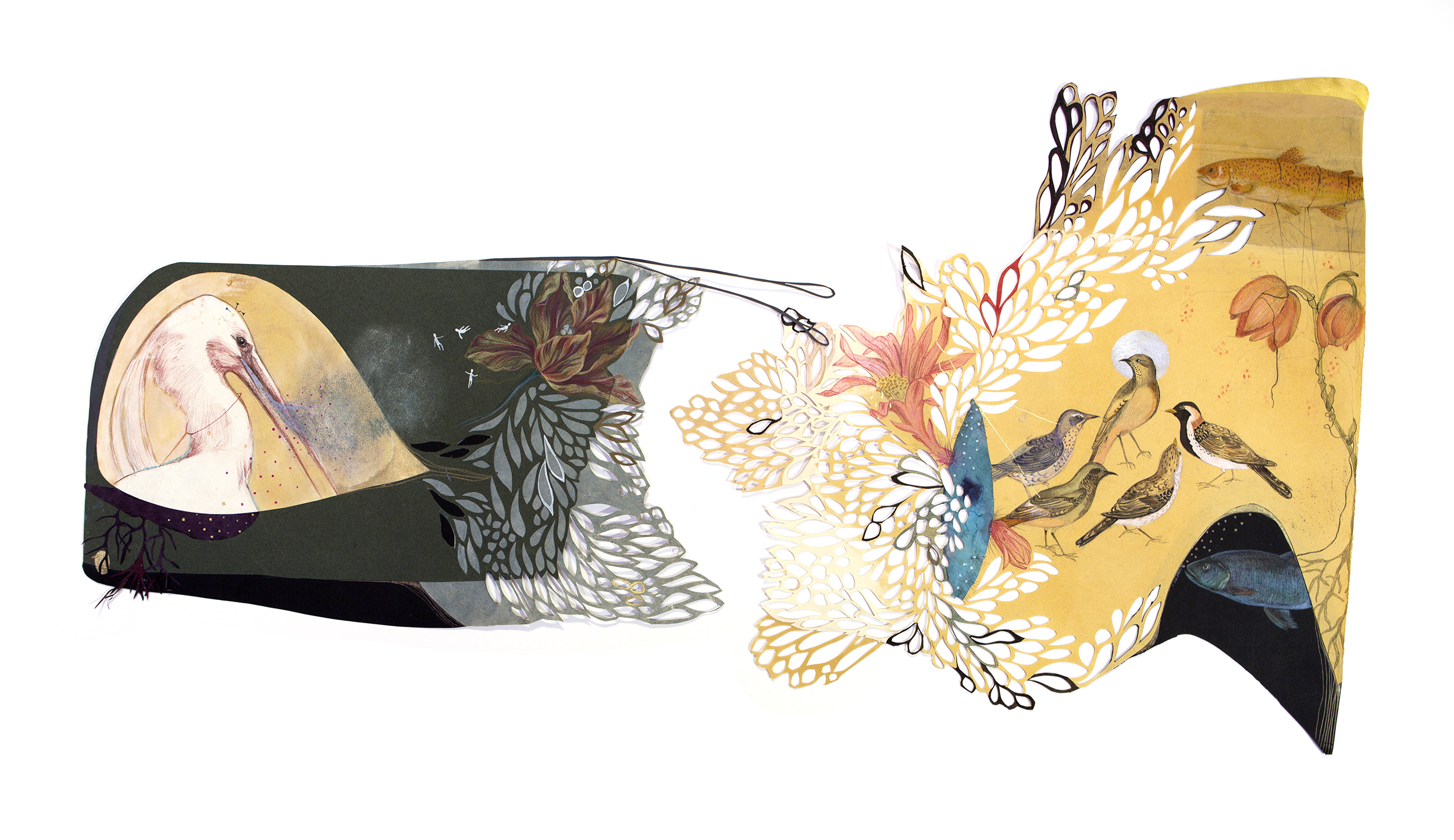"""A Dream Prologue"", Cut out Paper, Drawing 102 x 56 cm 2014"