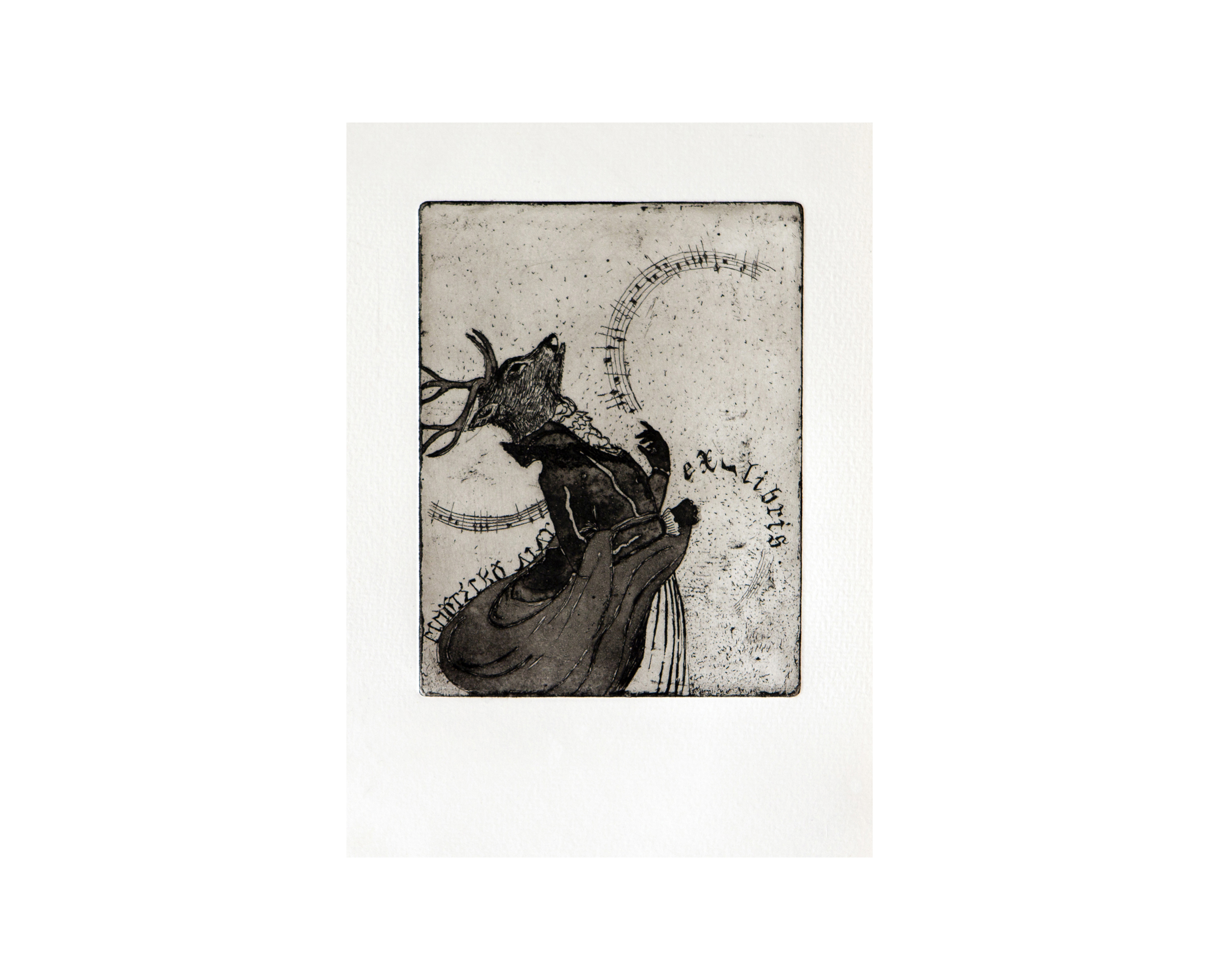 Ex Libris, limited edition etching print, aquatint, eau forte 10 x 13 cm 2008
