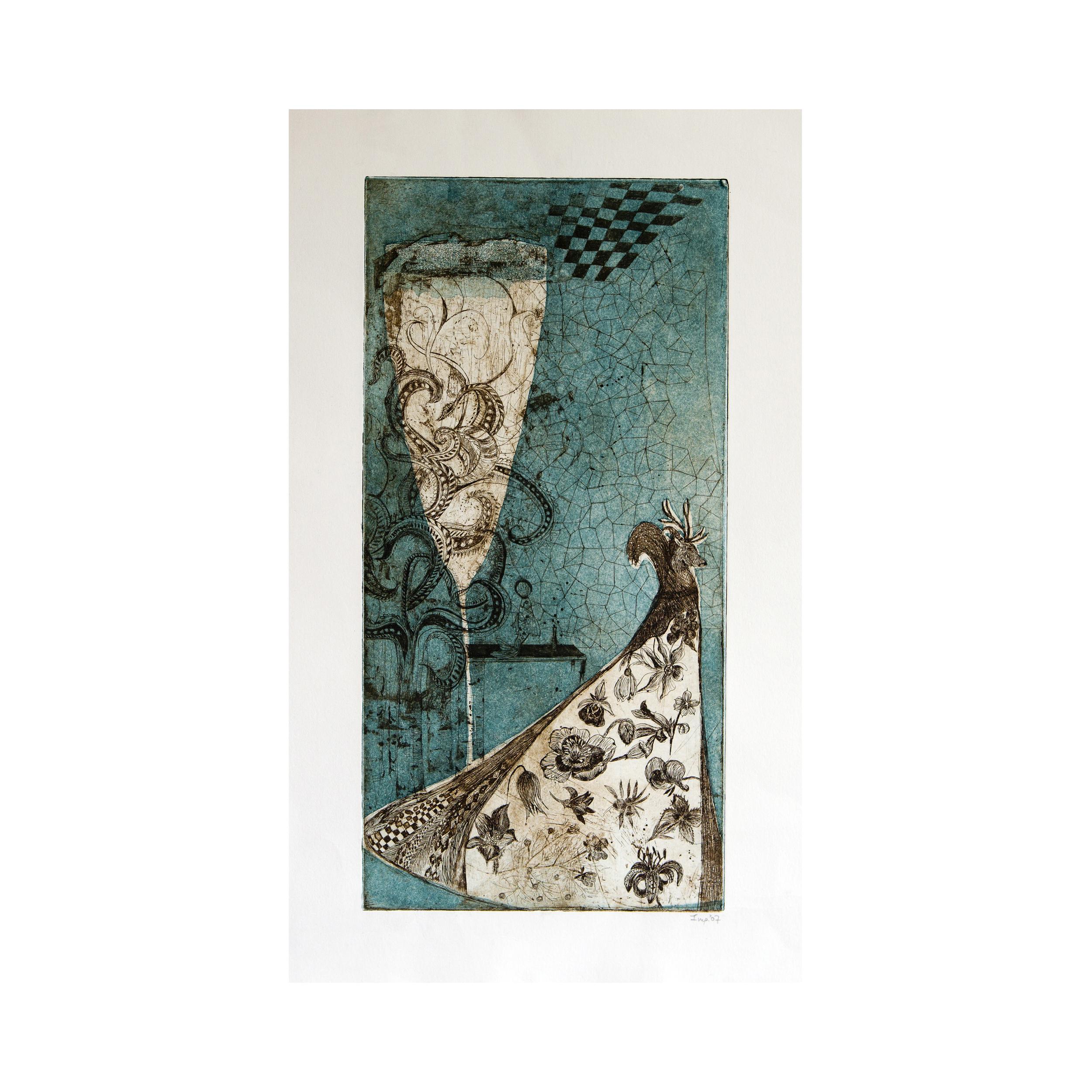 """""""High Priestess"""", aquatint, eau forte 20 x40 cm 2007"""