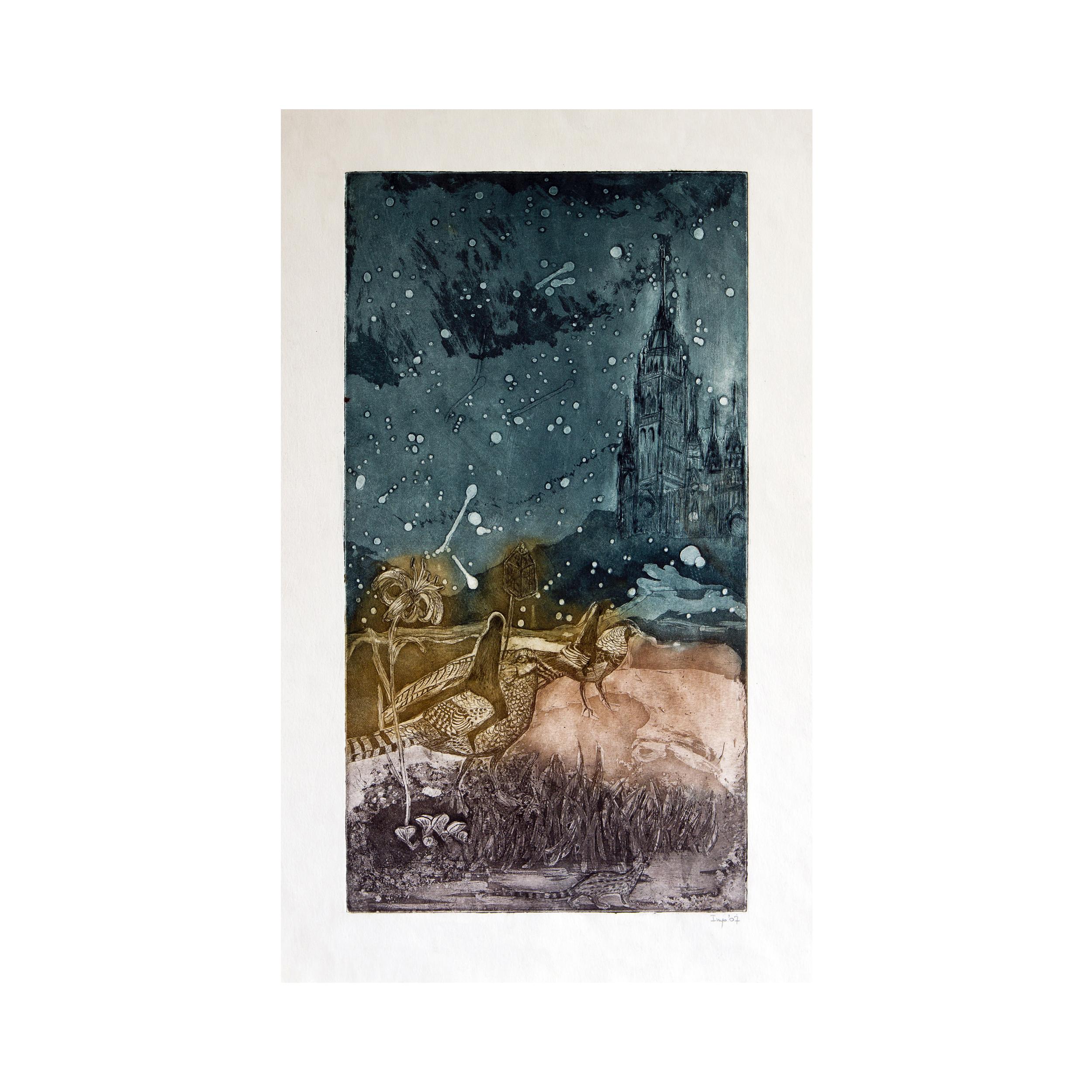 """Night Journey"", aquatint, eau forte 22 x 40 cm 2007"