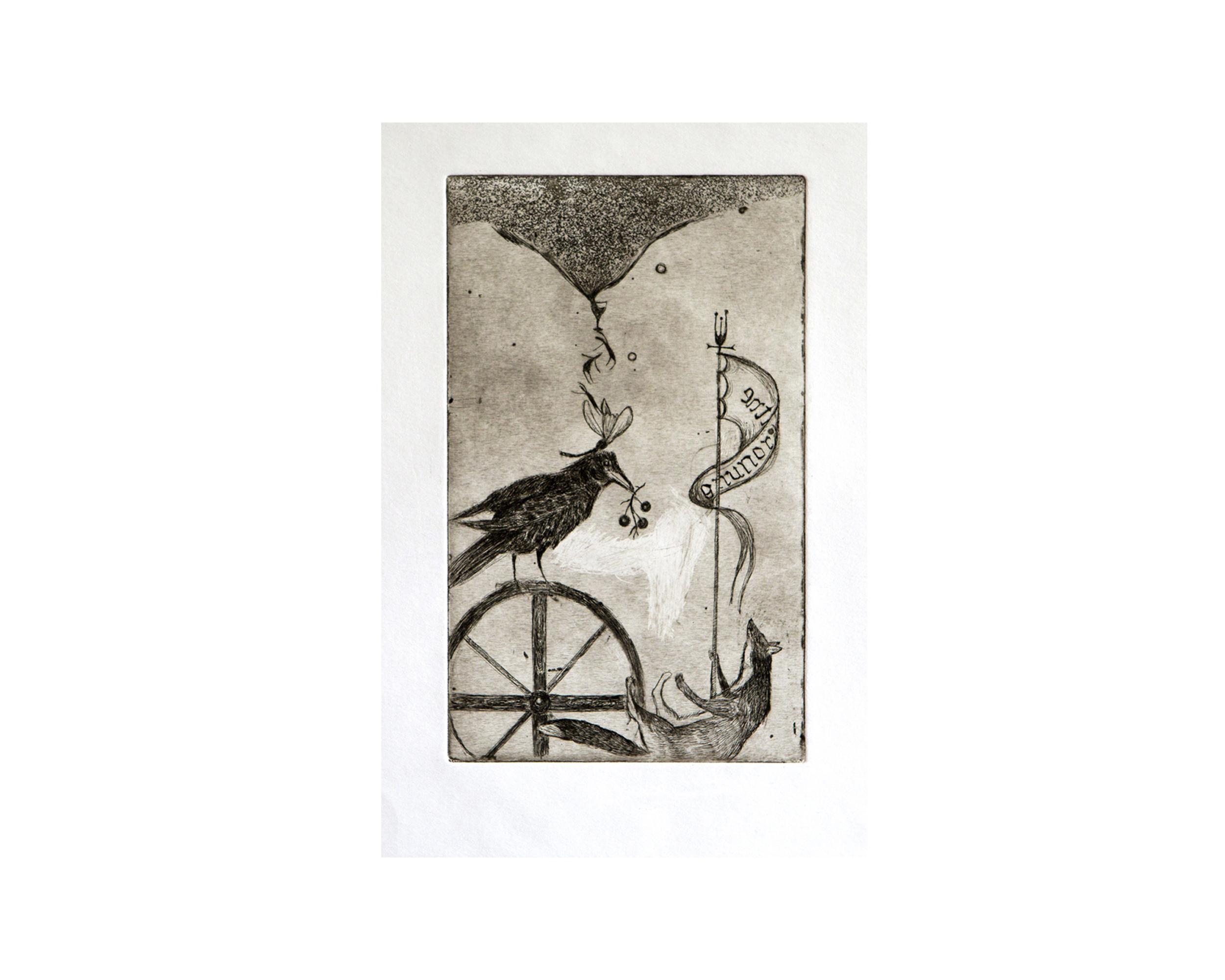 """""""Enthronement"""", aquatint, eau forte 12 x 19 cm 2007"""