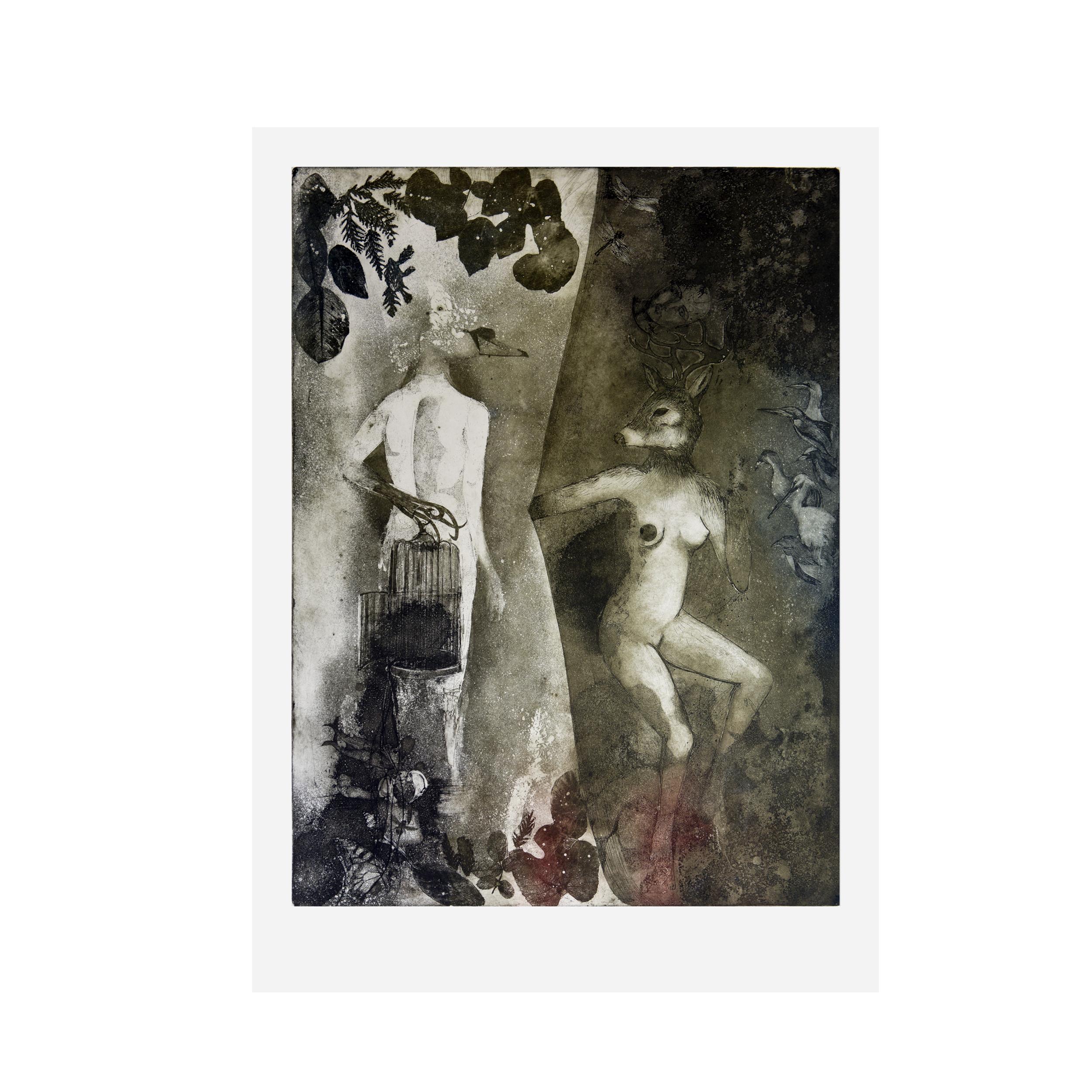 """Nigredo - The Dark Side of Eden"" aquatint, eau forte, vernis mou, dry point 50 x 70 cm , 2010"