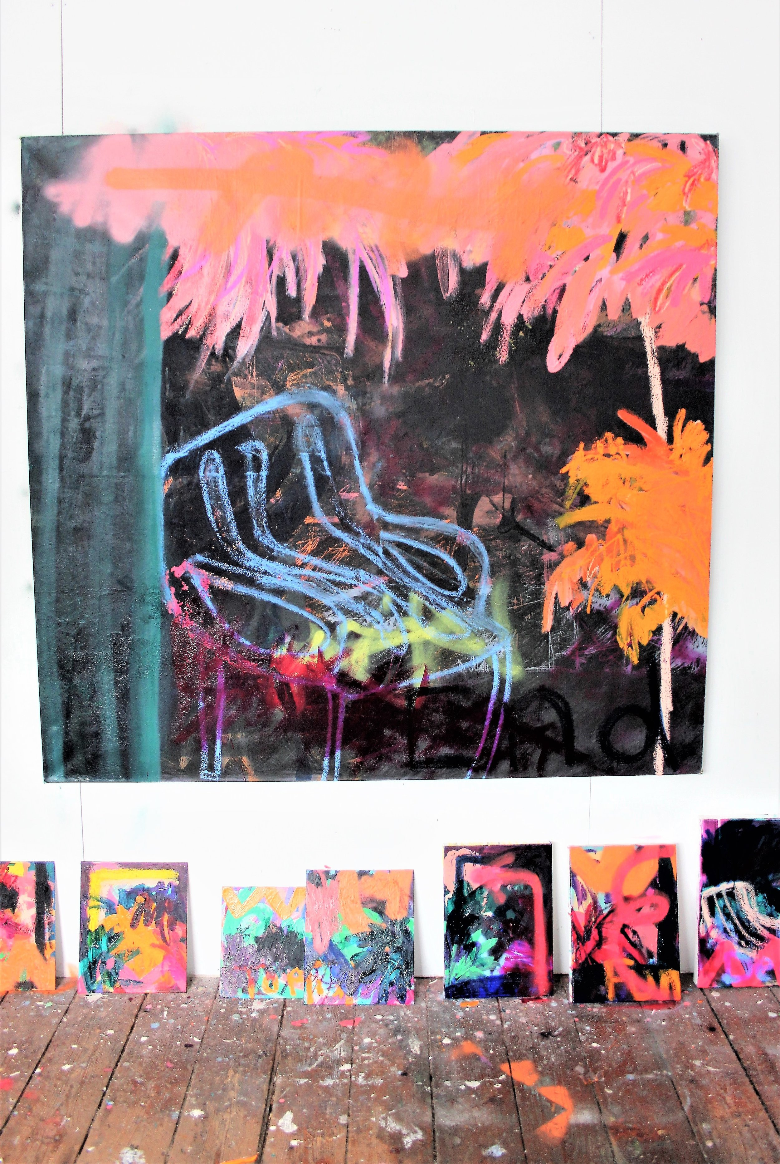 Coco Hewitt Studio wall wip with Waiting for the moonlight.jpg