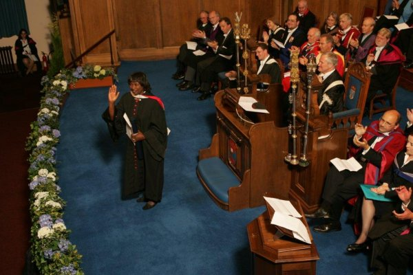 Renee Powell receiving honorary doctorate of laws at The University of St. Andrews, Scotland.