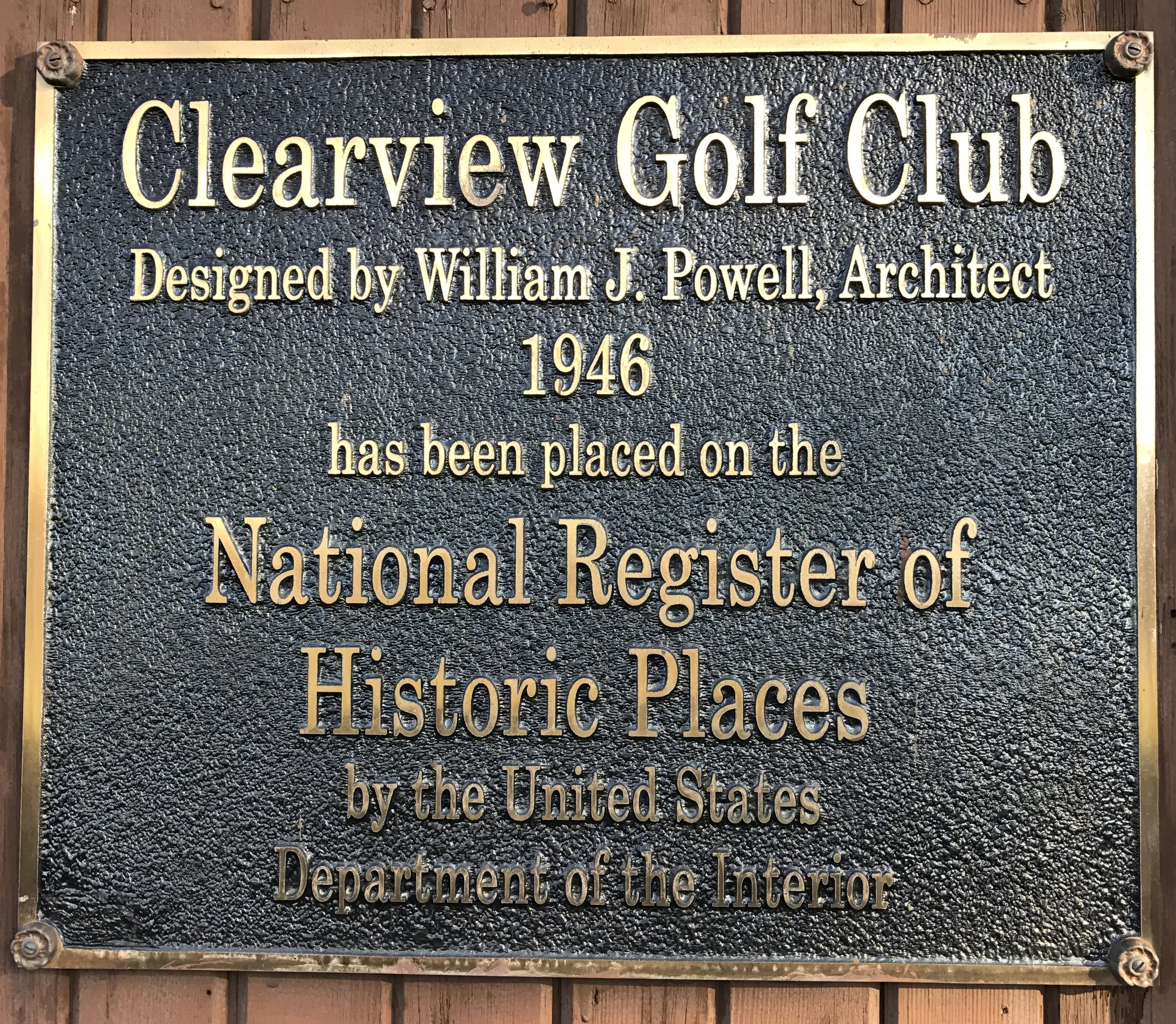 Clearview Golf Club was placed on the National Register of Historic Places by the U.S. Department of the Interior in 2001.