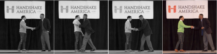 Ron Ransom and student, Miicah Coleman, demonstrate the perilous and confusing world of the handshake before finally getting it right.
