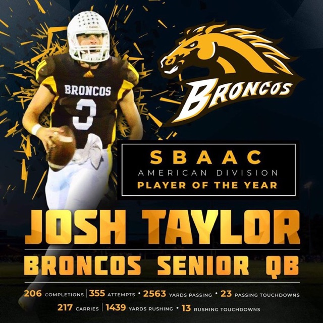 Josh Taylor #3 - Coach Suriano has trained Quarterback Josh Taylor, Western Brown High School for two years. His 2018 accomplishments to date are as follows:• SBAAC Player of the year• 206 of 355 Passing for 2,563 Yards, 23 TD's• 217 Carries for 1,439 Yards Rushing, 13 TD's• 4,002 Total Yards, 36 TD's