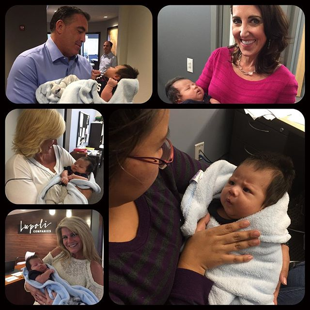 Our very own Jenny stopped by to introduce us to her newborn son! #LupoliLove 👶