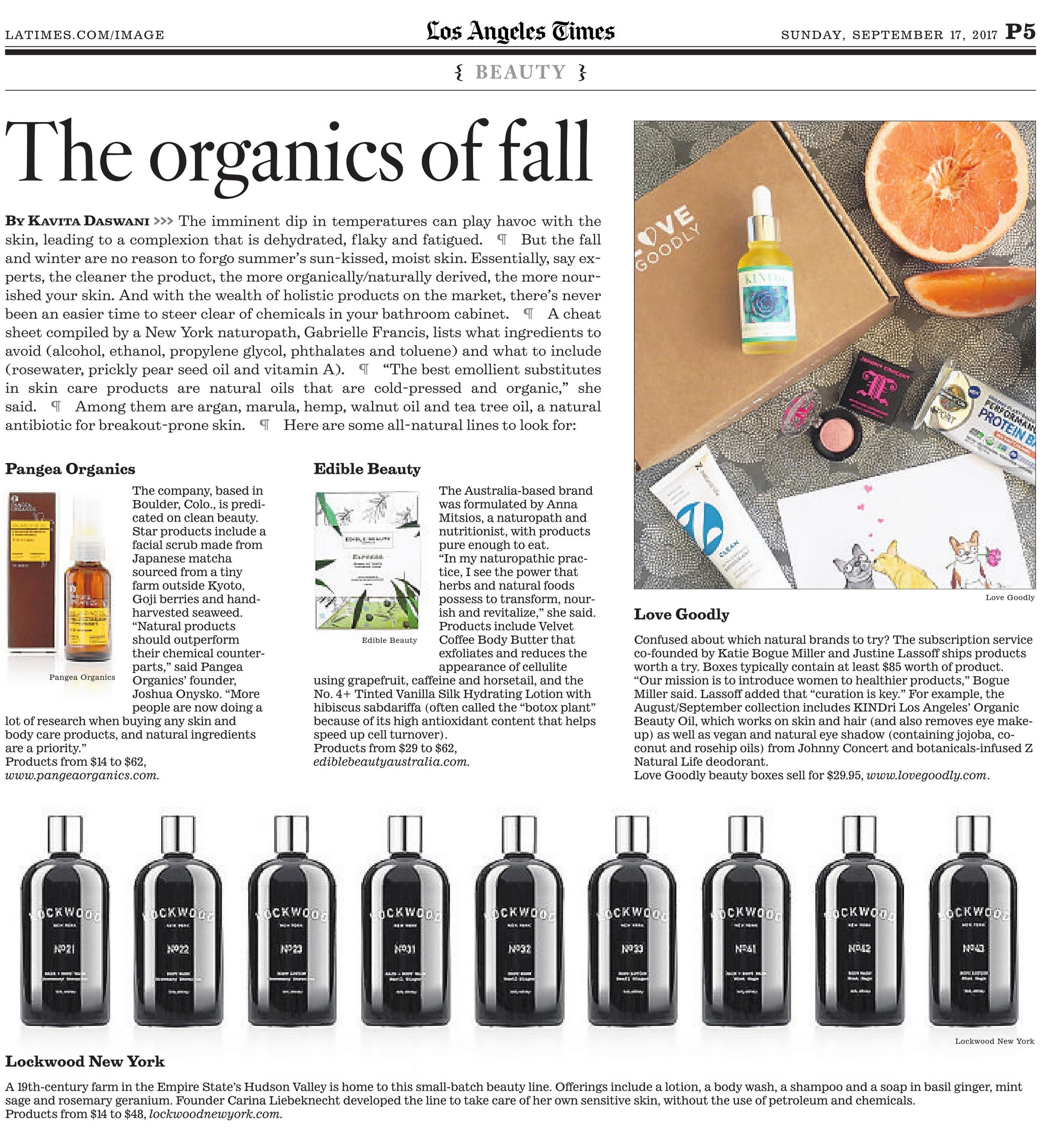 LA Times: Four All Natural Brands That Nourish Your Skin In The New Season