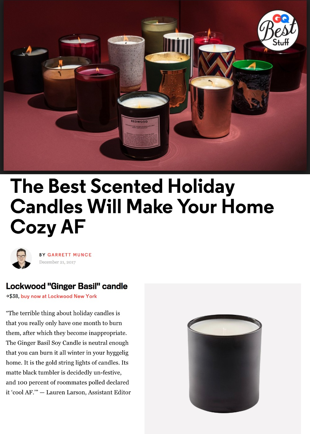 GQ: Best Stuff - Holiday Candles