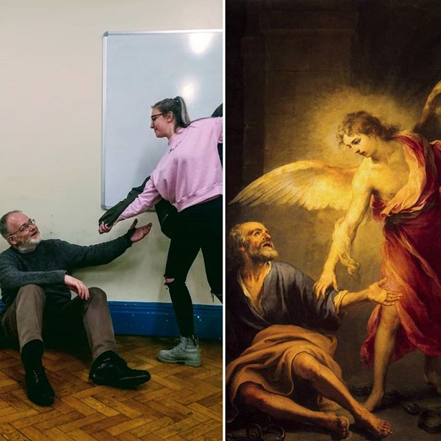 Our Robin as the angel is liberating St Peter (our Herb) in this homage to Bartolomé Esteban Murillo's famous painting. Must love the improvised wings 👼 #PrepareYe  Want to see them re-enacting more famous parabels? Get your tickets for Godspell here: https://www.bit.ly/WBOSGodspell2019
