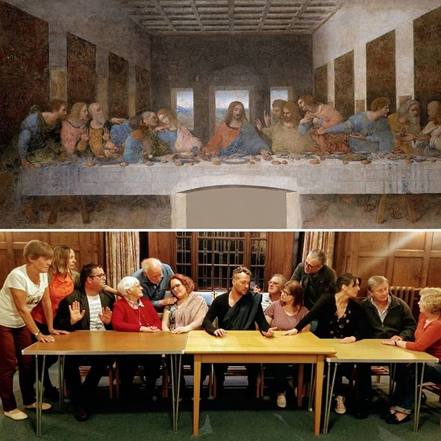 "We have promised you a treat and here it is just in time for the #weekend: Leonardo da Vinci's #masterpiece ""The last supper"". Want to see our cast not only impersonating famous paintings, but famous parabels in a humourous way? Then get your tickets now for this smashing energetic show! #PrepareYe #TheWBOSWay https://www.bit.ly/WBOSGodspell2019"