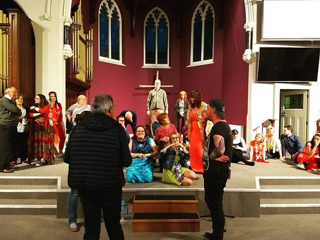 Just look at the colours of costumes and the joy that our cast radiates! As you can see the director is putting his finishing touches on the production, before #Godspell commences TOMORROW evening!  #PrepareYe and get your tickets now www.bit.ly/WBOSGodspell2019