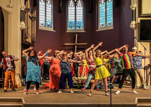"#PrepareYe the day has arrived that we open with Godspell at the West Bridgford Baptist Church. Get ready for a colourful, fun and energetic spectacle!  Big thanks to @giftofthegav for the beautiful 📷  There's limited availability tonight and still many tickets for both shows tomorrow. Get in there now, you'd be ""a blind fool"" to miss out! Https://www.bit.ly/WBOSGodspell"