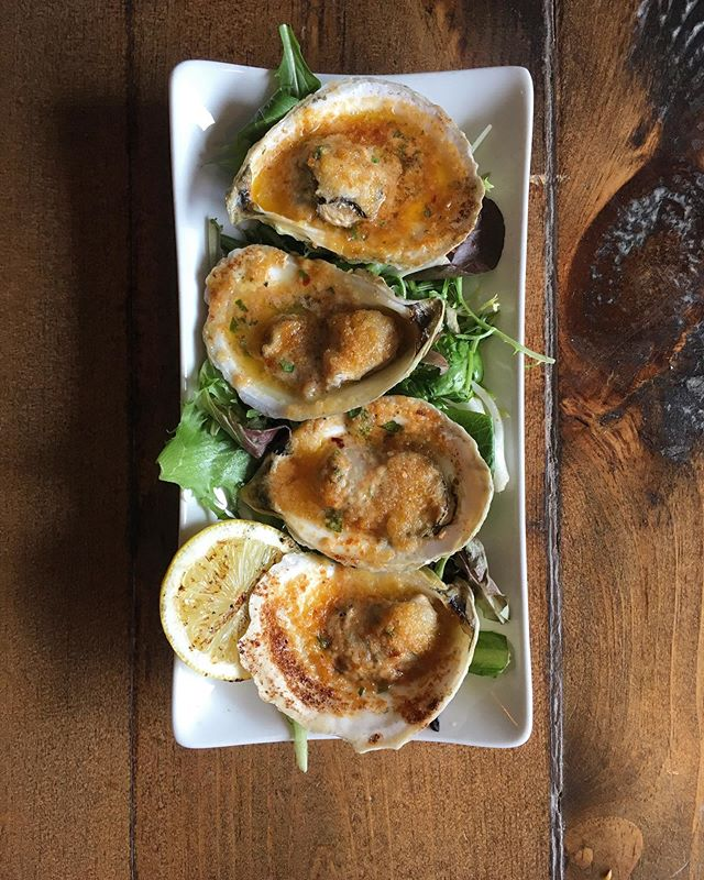 We're Open!! Get gas where you can and zip on over! We have Grilled Oysters 🌬😻#grilledoysters #shellfish #smallplates
